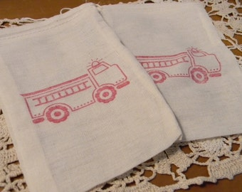 Set of 10 Hand stamped Red Fire Truck  Birthday Party Organic Muslin Gift Bags 100% organic made in america