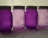 Stained Glass Mason Jars, Set of 4 - Passionately Purple & Madly Mauve