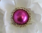 Vintage Metal Buttons - Moon Pearl Button - Fuchsia   Pearl - 26mm - set of 5