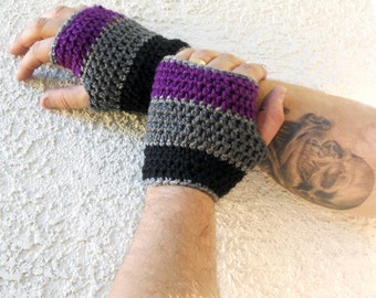 Tri color Mens fingerless gloves, wrist warmers, fingerless gloves, mittens, winter gloves, texting gloves, crochet gloves, driving gloves