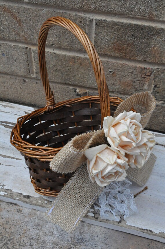 RESERVED for AMANDA - Burlap and Lace Flower Girl Basket - Rustic Flower Girl Basket - Burlap Flower Girl Basket