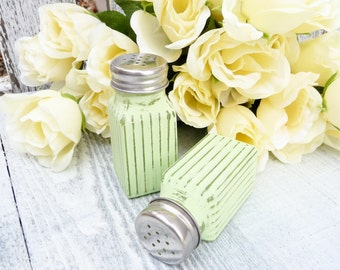 Soft Green Painted glass SHABBY CHIC Salt and Pepper Shaker Set