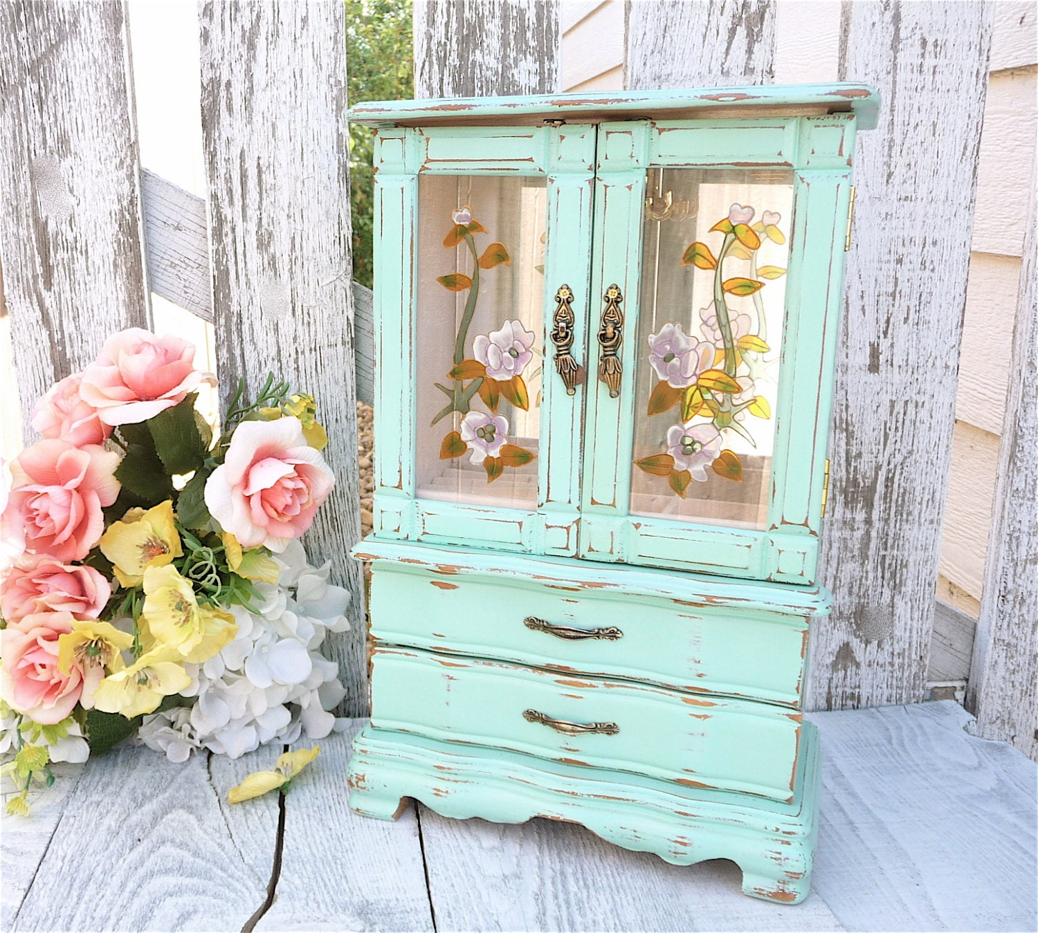 mint green shabby chic jewelry box armoire by huckleberryvntg. Black Bedroom Furniture Sets. Home Design Ideas