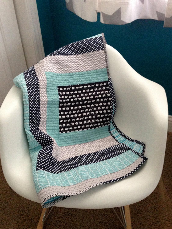 Modern Blue Elephant Baby Quilt