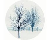 Blue winter circle photograph, blue white art print, square print, winter photograph, rustic modern winter photo, geometric abstract