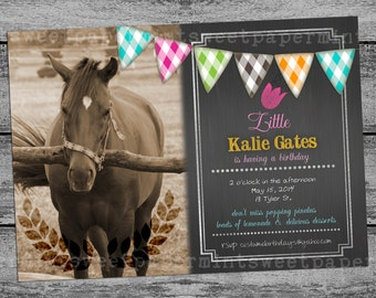 Equestrian Horse Birthday Invitation Vintage Card Chalk Chalkboard Sign Cards -  all occasion