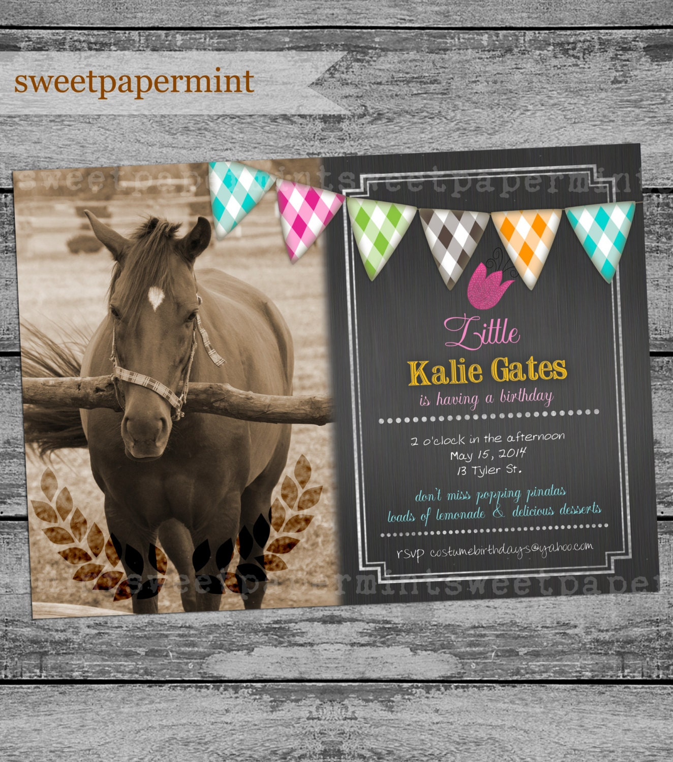 Equestrian Horse Birthday Invitation Vintage Card Chalk