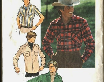 Mens Simplicity Casual Shirt Pattern 7698  Mens Size 38  Medium Size 1976 Unused Tuck In Out