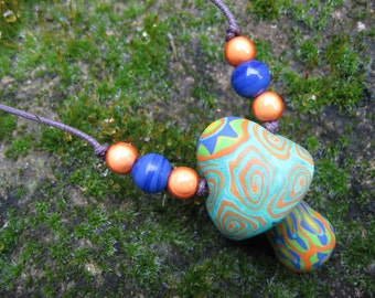 SALE millefiori mushroom pendant necklace with star and spiral patterns, on thin adjustable cord, handmade from polymer clay, one of a kind