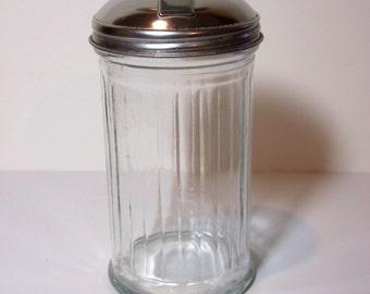 RETRO SUGAR DISPENSER - Vintage Diner Style - Glass & Stainless Steel