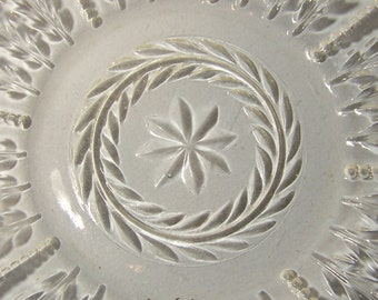 DEPRESSION GLASS PLATE - Eight Pointed Star, Laurel Leaves and Beaded Rows - Treasury Item