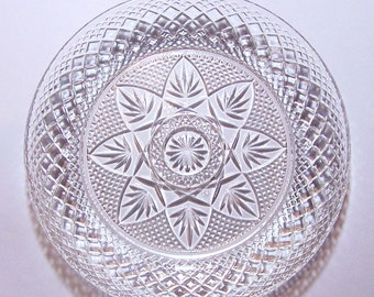 VINTAGE GLASS DISH - Sparkly Multi-Facetted Shallow Bowl