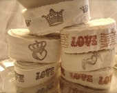 8 yards handstamped muslin ribbons, handstamped crowns ribbon, heart stamped ribbons, party decor, wedding decor (Buy 2 get 1 free)