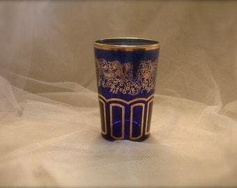 Cobalt blue glass cup with gold trim,  cobalt blue vase cup with gold trim, cobalt blue cup, victorian glass cup