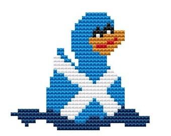 Cross Stitch Kit, 'Scotland Duck', Cross Stitch Pattern, Duck Stitching, Counted Cross Stitch, Modern Sewing, Beginners Set, Rubber Duck KIT