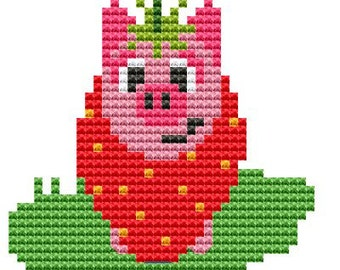 Modern Cross Stitch Kit 'Pig in a Strawberry Suit' Cross Stitch Kit - Pig