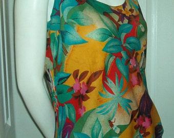 CAROLE LITTLE Saint Tropez West Blouse Top Floral Tunic Multi Color Vintage