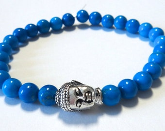 Turquoise Beaded Bracelet with Silver Buddha