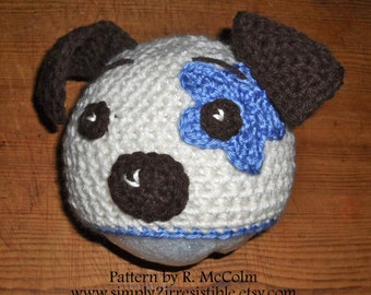 Hound Dog Hat Pattern - Crochet Pattern 19 - Beanie and Earflap Pattern - Newborn to Adult - us or uk Terms - INSTANT DOWNLOAD