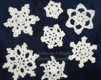 Snowflakes Crochet Patterns - Holiday, Christmas, Winter Embellishments - Crochet Pattern 32 - INSTANT DOWNLOAD - Us and Uk Terms