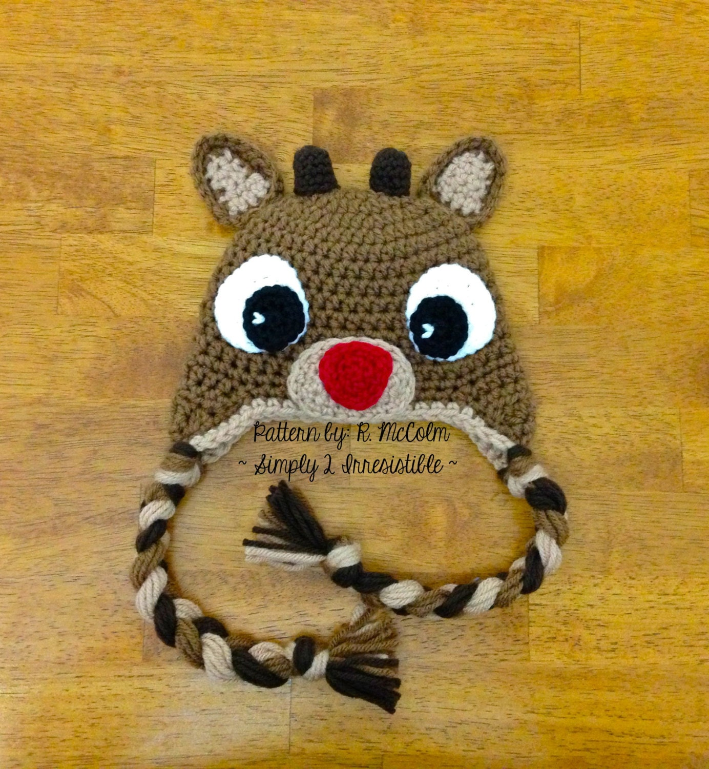 Free Reindeer Hat Crochet Pattern For Dogs : Rudolph Reindeer Crochet Hat Pattern 57 by Simply2Irresistible