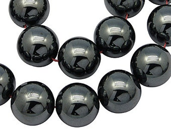 2 Strands Non-Magnetic Hematite Beads, Round, Black, 4mm, FREE SHIPPING to USA