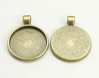 Free Shipping Within USA, 12 pcs Antique Bronze Cabochon settings, inner tray 25mm (1 inch)