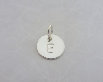 Personalised Silver Charm - Sterling Solid Silver 925 Disc Circle Tag Letter Initial Personalised Charm with Split Ring Handmade Bespoke