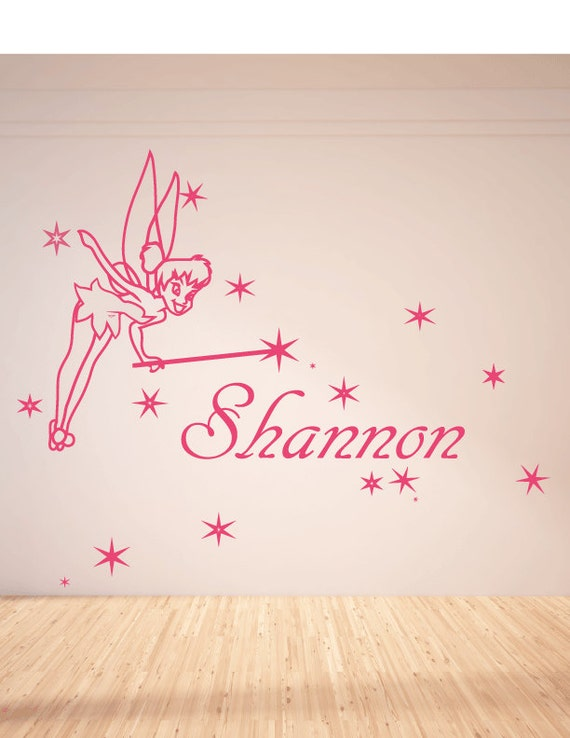 Charmant Items Similar To Large Personalised Tinkerbell Wall Decal, Mural, Wall  Stickers. On Etsy
