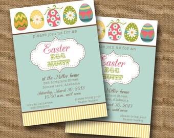 "Printable Easter Egg Hunt or Easter Brunch Invitation | Easter Party, Easter Shower Invite | DIY PRINTABLE | ""Colorful Eggs"" Spring Invite"