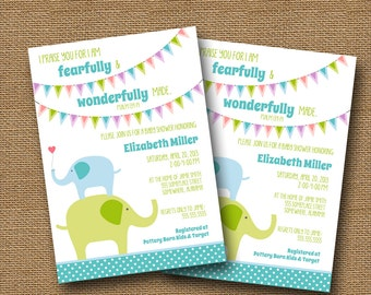 "Elephant Baby Shower Invitation DIY PRINTABLE ""Elephant Bunting"" Baby Boy Christian Scripture Bible Verse"