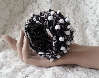 SALES - Crochet Beaded Yarn Cuff Bracelet - Black White - FREE UK delivery
