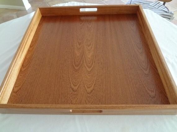 Mahogany Wood Serving Tray 24 X 24 Free