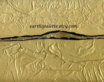 Collage, 9x12 Mixed Media, Gold, Blue, Abstract, Paper Sculpture, Art & Collectibles , Earthspalette