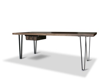 Oak rustic dining table solid wood in industrial design