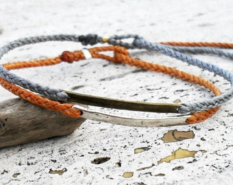 Braided friendship bracelet - waxed nylon with metal link