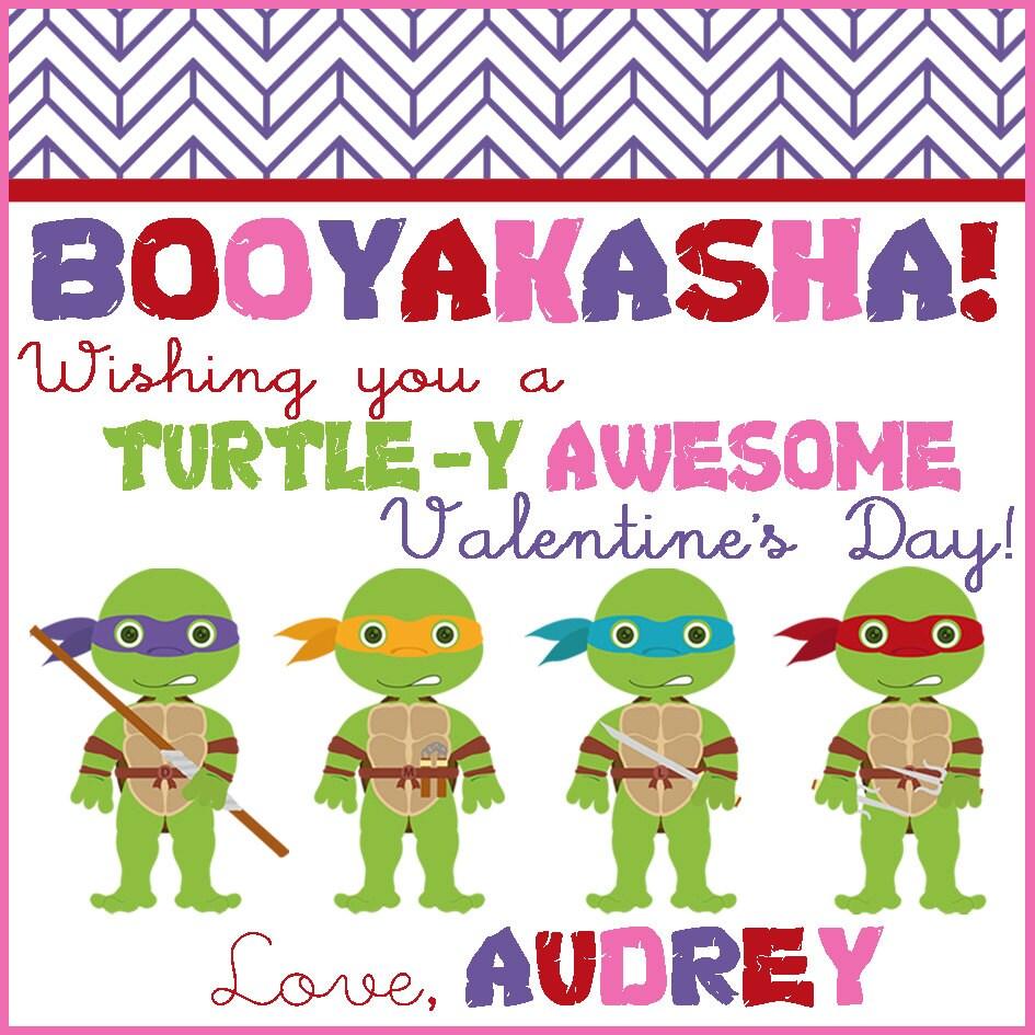 Custom TMNT  Valentines - Teenage Mutant NInja Turtle Valentine - Party Supplies