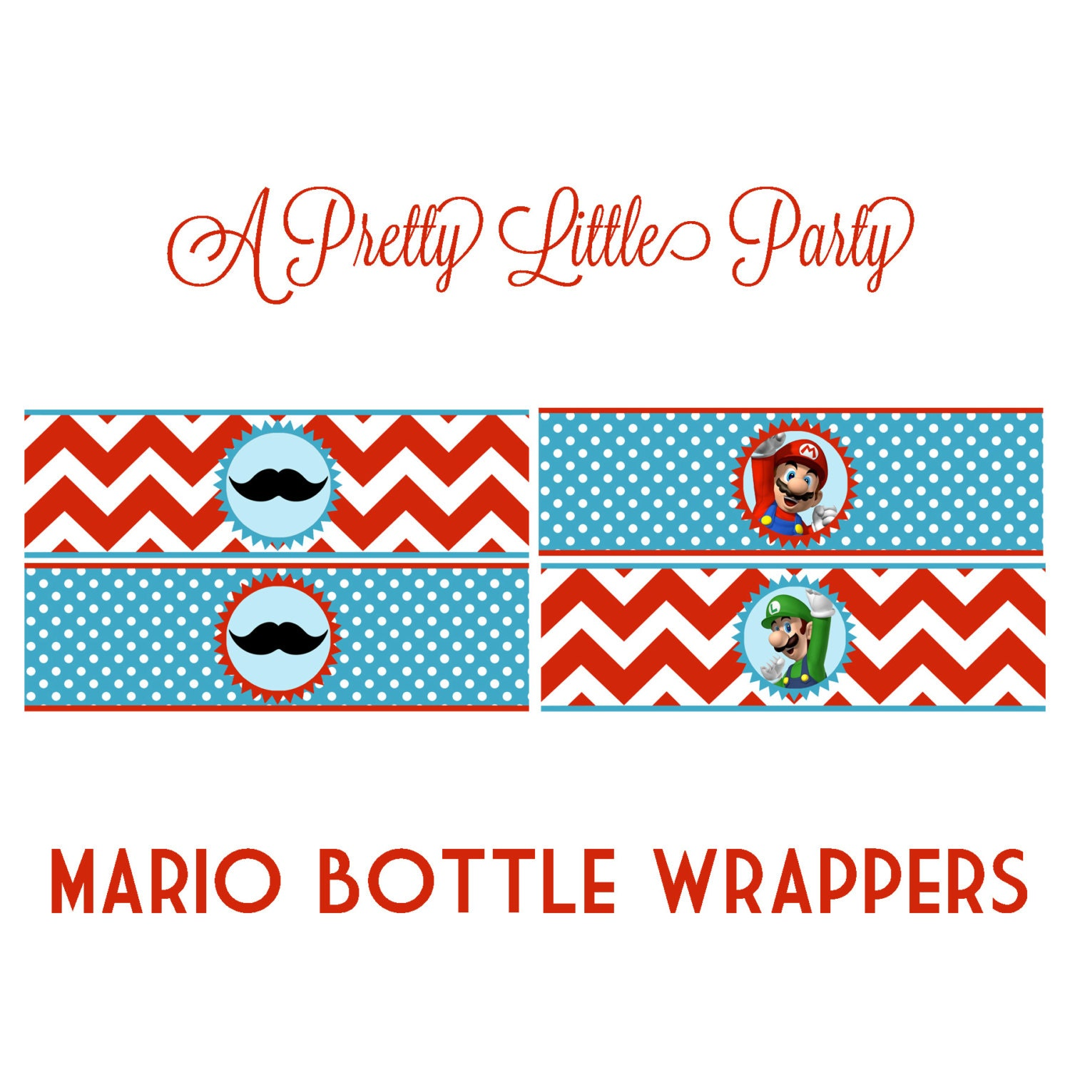 Mario Bottle Wrappers - Super Mario - Mario Bros - Party Supplies-INSTANT DOWNLOAD