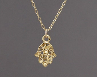 Tiny Gold Hamsa Necklace w/Evil Eye also in silver