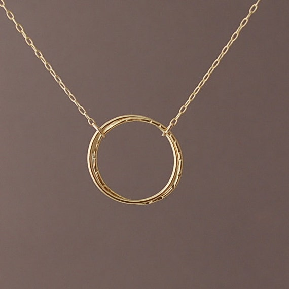 Double Entwined Circle Gold Fill Necklace