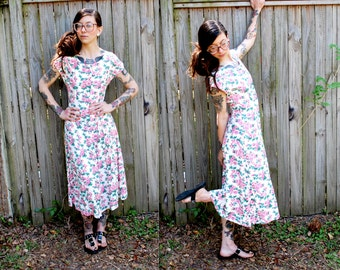 Vintage // 90's Grunge Cream Floral Maxi Dress // Button Up Size 4 // Small Gypsy Rose