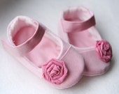 Baby girl shoes Pink mary janes with flower, Ballerina slippers, Ballet flats - MartBabyAccessories