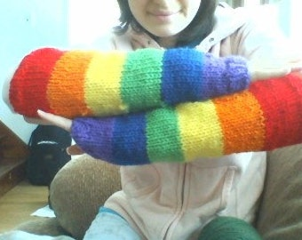 "READY to SHIP Rainbow Armwarmers / Legwarmers 18"" Long Premade Gifts for Girls Teens Women Mother's Day Spring Easter Graduation"