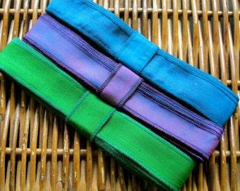 Silk Ribbon Trim, Hand Dyed Silk, Rainbow Colours, B42
