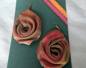 Large Rose Mesh earrings - vintage earrings