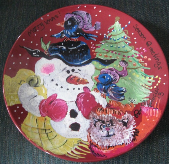 11 inch Dark Red Ceramic Hand Painted Plate for Christmas Time It's Looking a lot Like Christmas