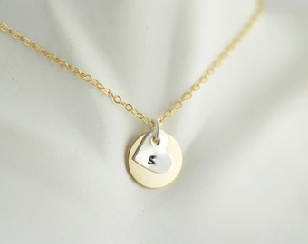 14kt gold disc necklace, Initial jewlery, Personalized necklace,Handstamped Jewelry, sterling silver initial heart charm