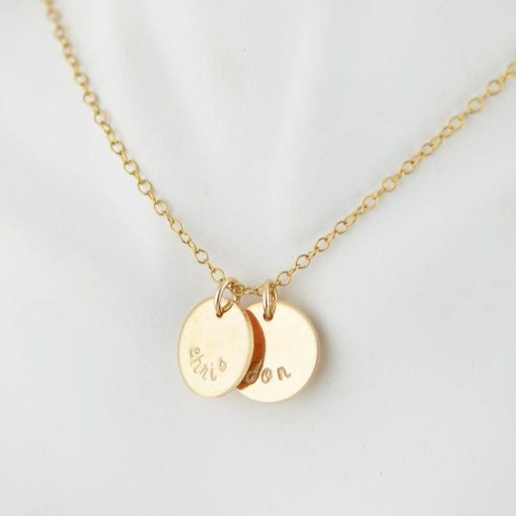 necklace gold disc necklace initial by luckyhorn on