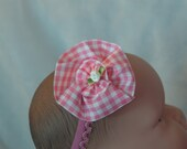 Pink plaid Infant Headband red or blue, perfect for pictures, picnics, a new look
