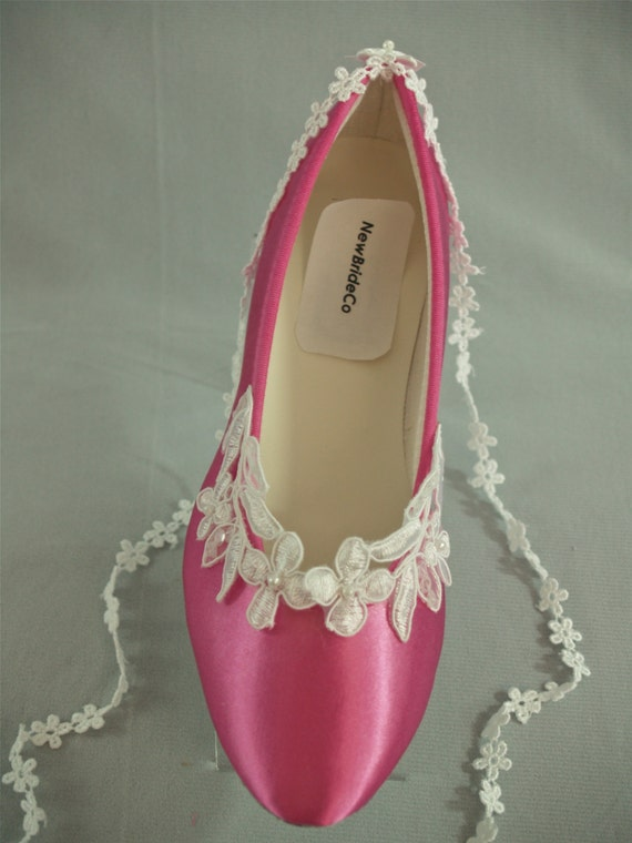 Flat Wedding Shoes, 200 COLORS, or Hot pink, White, Ivory ...